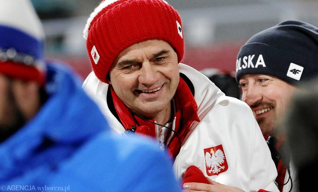 Trener Stefan Horngacher. Skoki narciarskie - konkurs drużynowy. XXIII Zimowe Igrzyska Olimpijskie Pjongczang 2018, 19 lutego 2018
