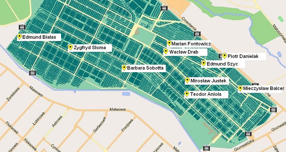 Plan cmentarza na Junikowie w Poznaniu z uwzględnieniem miejsc pochówku części sportowców