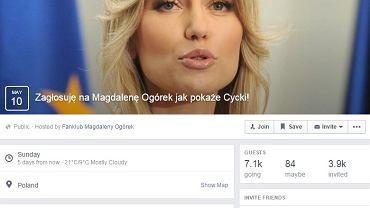 """Wydarzenie na Facebooku  """"Zagłosuję na Magdalenę Ogórek jak..."""""""