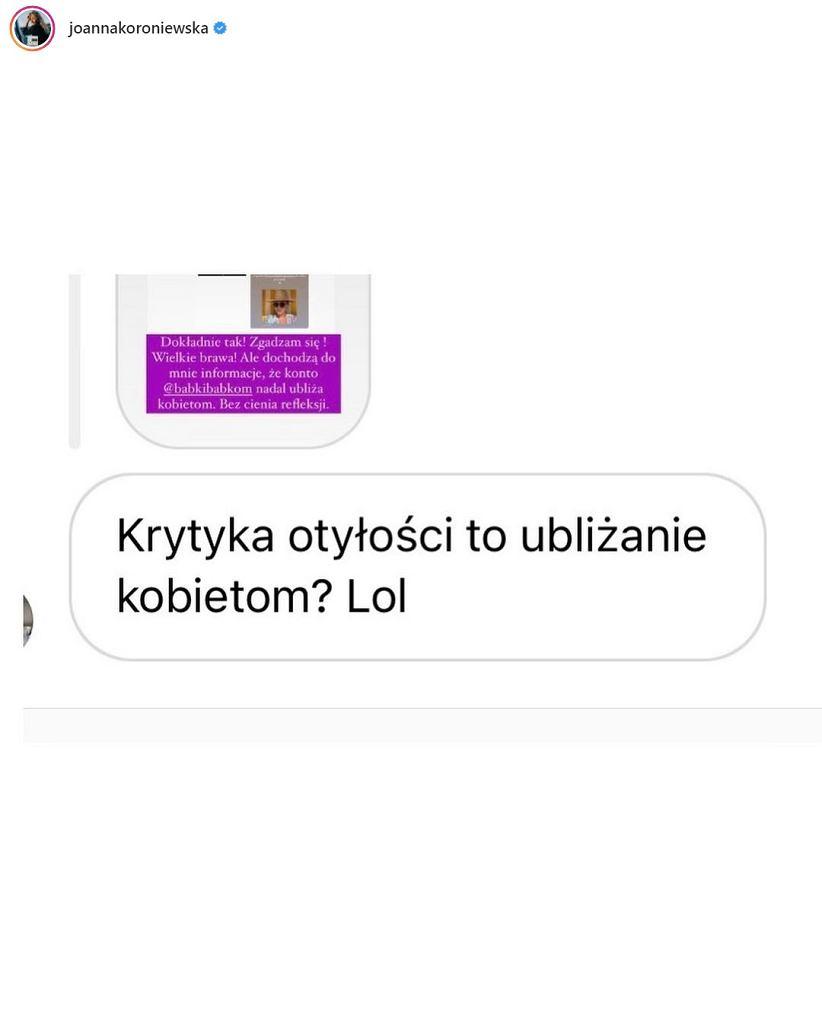 Joanna Koroniewska (screeny wiadomości)