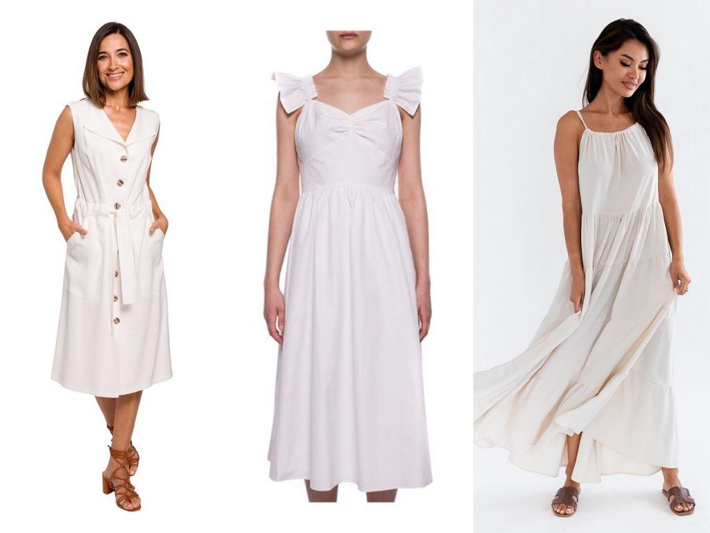 zwiewne białe sukienki na lato