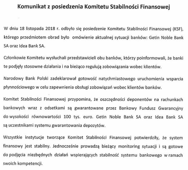 Communication of the KSF of 18.11.2018