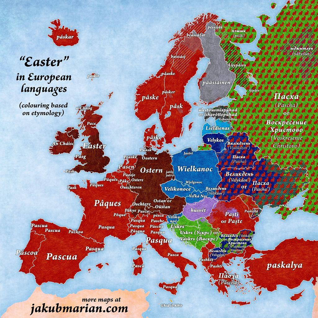 'Wielkanoc' w różnych europejskich językach