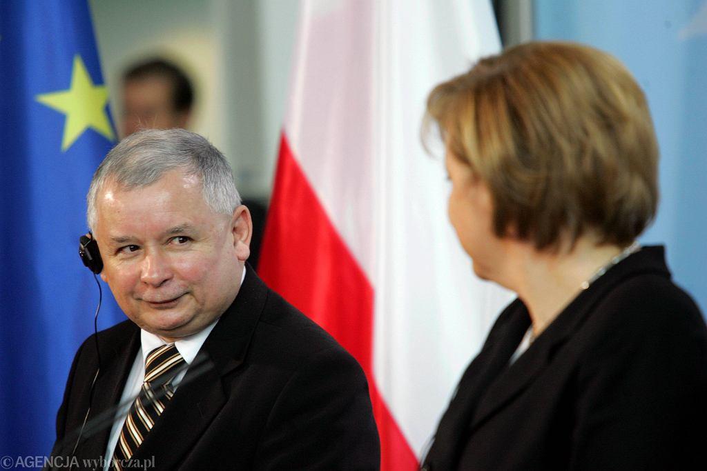 Jarosław Kaczyński i Angela Merkel