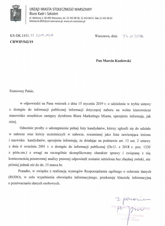 Pismo przesłane Gazeta.pl