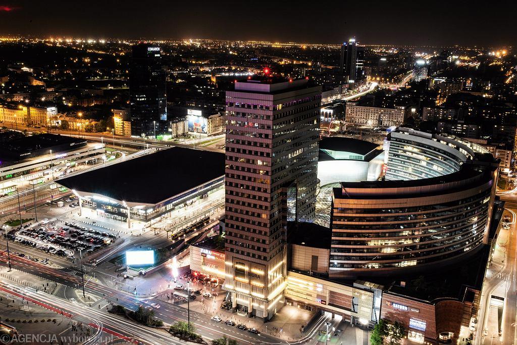 Warszawa Nocą z Pałacu Kultury i Nauki