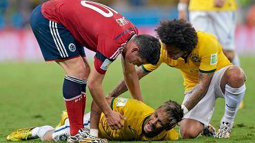 Neymar doznał kontuzji w ćwierćfinałowym meczu z Kolumbią