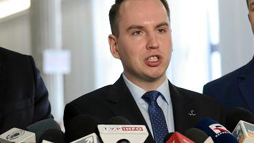 Poseł Adam Andruszkiewicz w Sejmie, 10 maja 2018 r.
