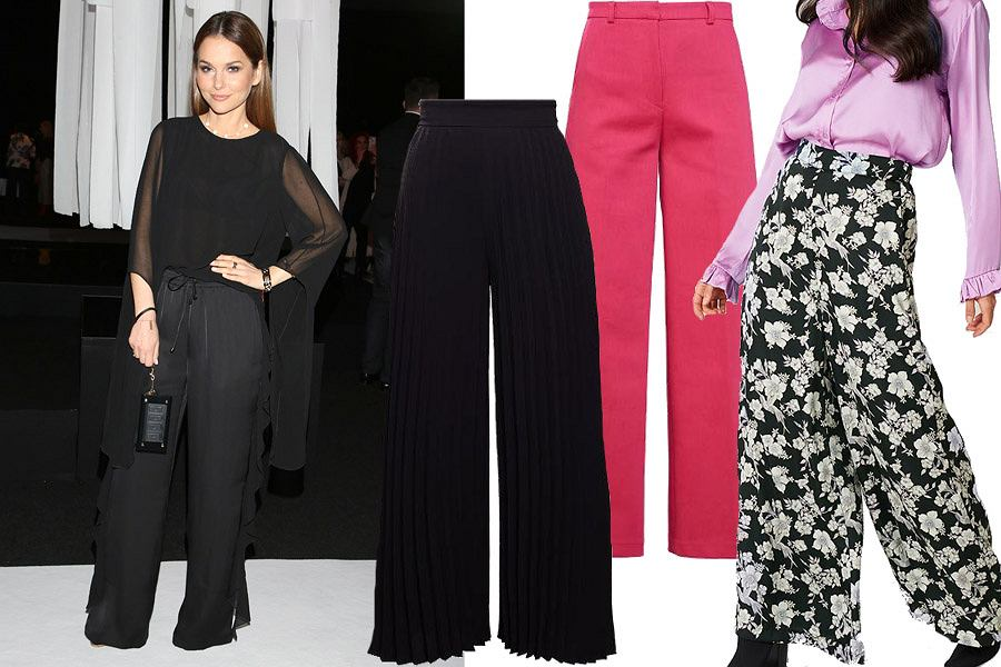 Kolaż, szerokie spodnie/Materiały partnera