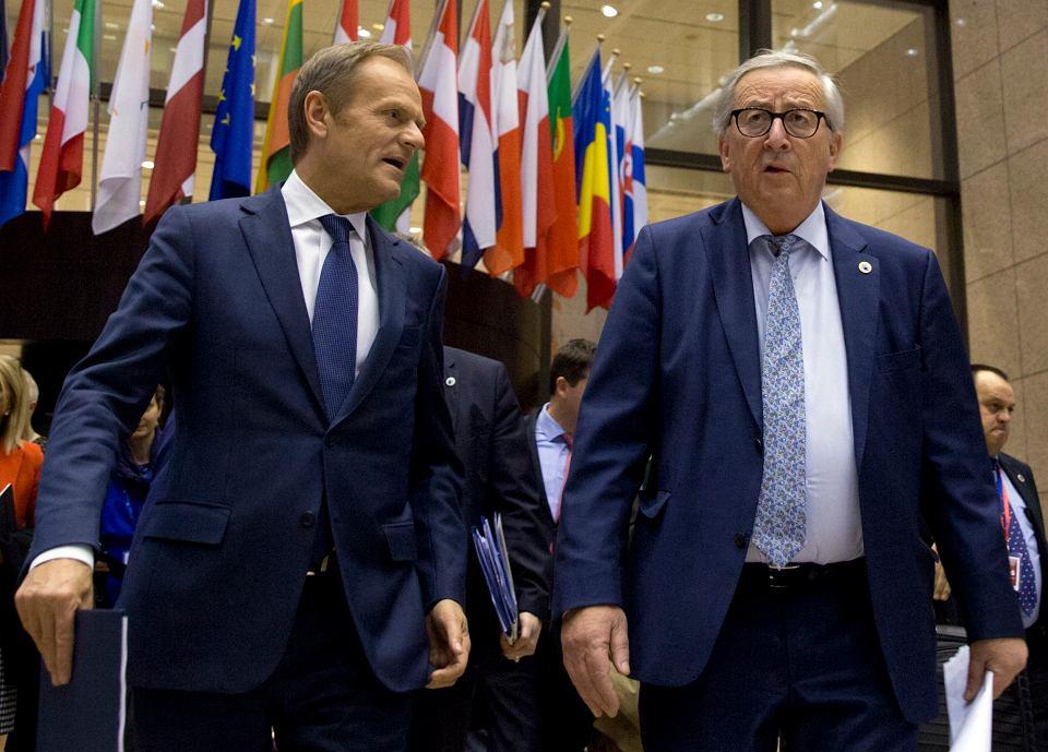 21.03.2019, Bruksela, Donald Tusk i Jean-Claude Juncker podczas szczytu Unii Europejskiej.