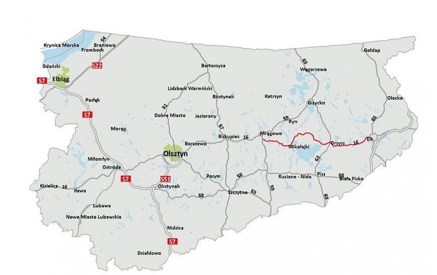 Trasa nowej drogi krajowej S16 przez Mazury