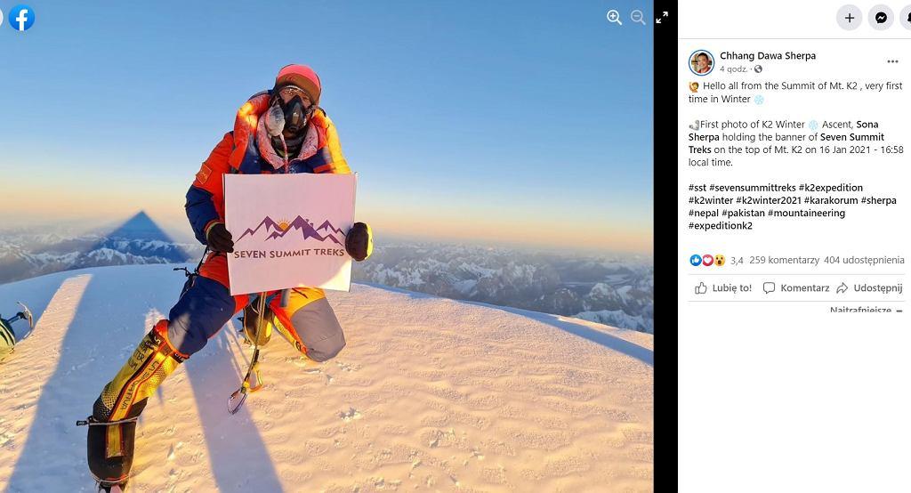 Sona Sherpa na szczycie K2