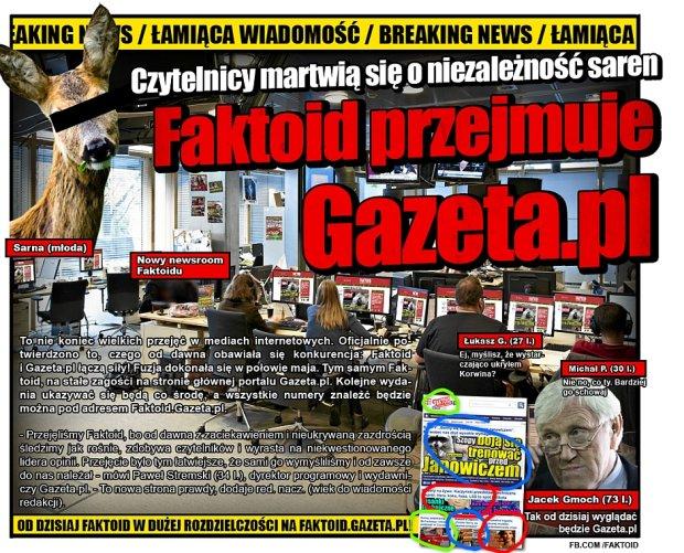 ŁAMIĄCA WIADOMOŚĆ: Faktoid w Gazeta.pl! - Gazeta.pl od dziś będzie umieszczać Faktoid na stronie głównej! Kolejne wydania ukazywać się mają co środę, a wszystkie numery w wysokiej rozdzielczości znaleźć będzie można w serwisie Faktoid.Gazeta.pl!  - Faktoid