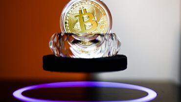Pamiątkowa moneta krypto-waluty bitcoin