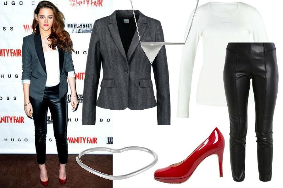 lookastic.com, Kristen Stewart, skórzane spodnie, czerwone szpilki