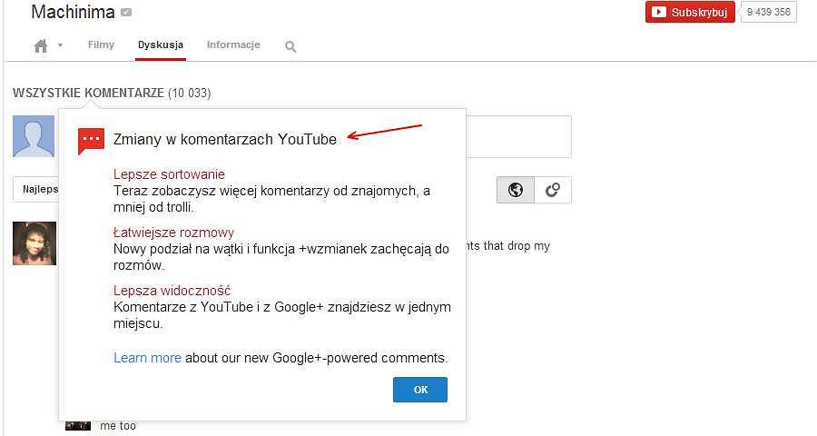 Komunikat o nowych komentarzach na YouTube