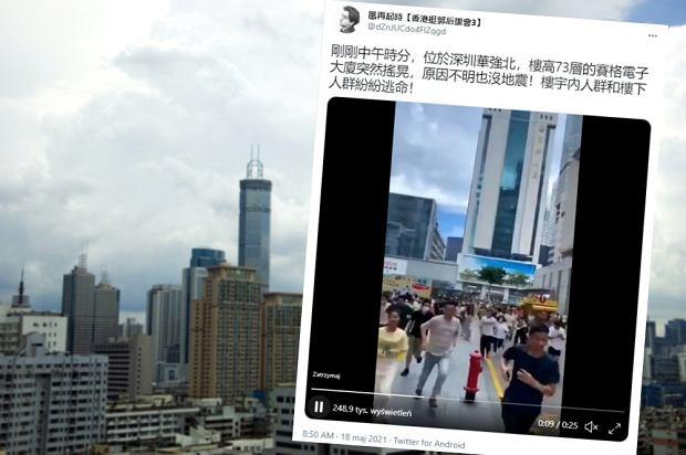 Chiny. Ponad 300-metrowy wieżowiec zaczął się chwiać. Popłoch na ulicy [WIDEO]