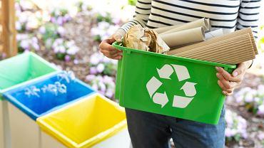 Kolory koszy na śmieci wskazują, gdzie wyrzucać poszczególne odpady komunalne. Zdjęcie ilustracyjne