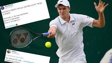 Decyzja o przeniesieniu meczu Huberta Hurkacza na Wimbledonie krytykowana przez kibiców
