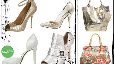 Srebrne i złote buty i torebki