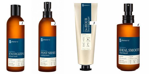 Testujemy kosmetyki Phenome, testy, skóra, kosmetyki, pielęgnacja, włosy, zarost, 1. Energizing all over wash, szampon i żel pod prysznic 2 w 1. Cena : 59 zł/250 ml; 2. Post-shave Cooling Lotion, łagodzący żel po goleniu. Cena: 105 zł/200 ml; 3. 24-hour ultra-hydrating cream, krem silnie nawilżający 24 h. Cena: 102 zł/50 ml; 4. Ideal smooth shaving gel, żel do golenia. Cena : 59 zł/50 ml; 117 zł/125 ml