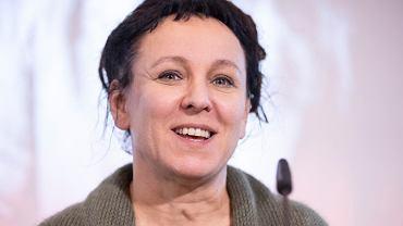 10.10.2019, Bielefeld, Niemcy, Olga Tokarczuk na konferencji prasowej po przyznaniu jej Nagrody Nobla z literatury.