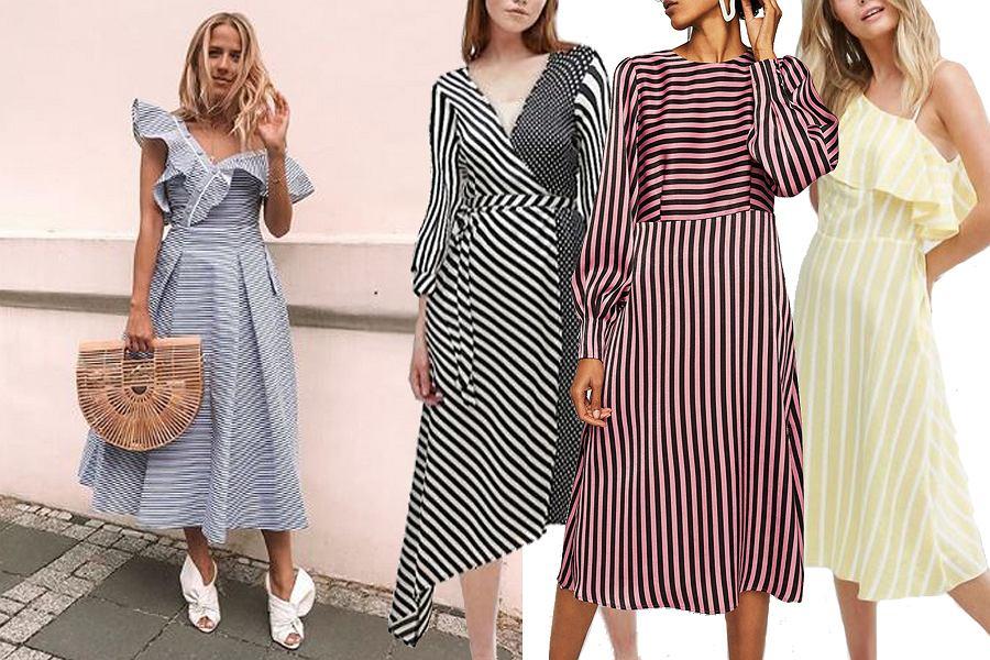 Kolaż, sukienki w paski/Materiały partnera