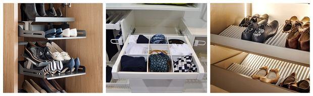 1. Wysuwane wkłady do przechowywania butów marki Peka 2. Wysuwany wkład do przechowywania akcesoriów marki GTV 3. Wkłady do przechowywania butów (do szuflad) marki Peka