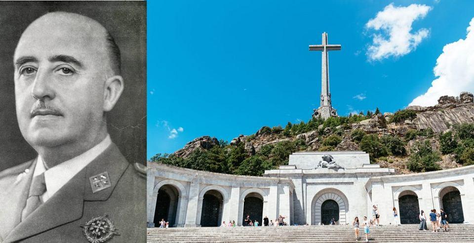 Gen. Francisco Franco i mauzoleum Dolina Poległych w Eskurialu, gdzie spoczywają jego szczątki.