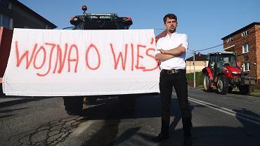 Protest rolników Agrounii w Wawrzeńczycach. Na zdjęciu Michał Kołodziejczak