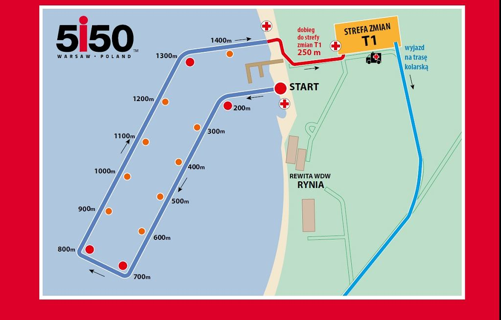 Trasa pływacka 5150 Warsaw Triathlon