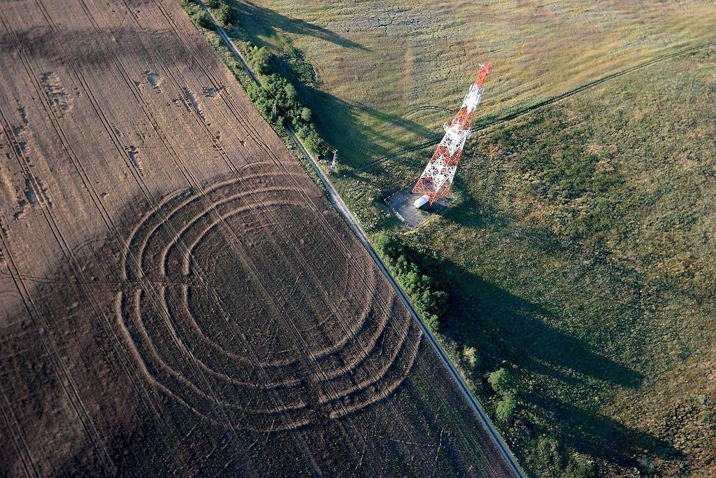 Kręgi na polu w Żelichowie widać tylko z dużej wysokości. Zboże w tym miejscu ma inny odcień