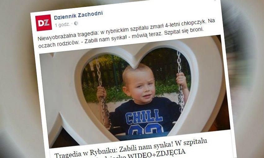 4-letni Seweryn zmarł w szpitalu w Rybniku