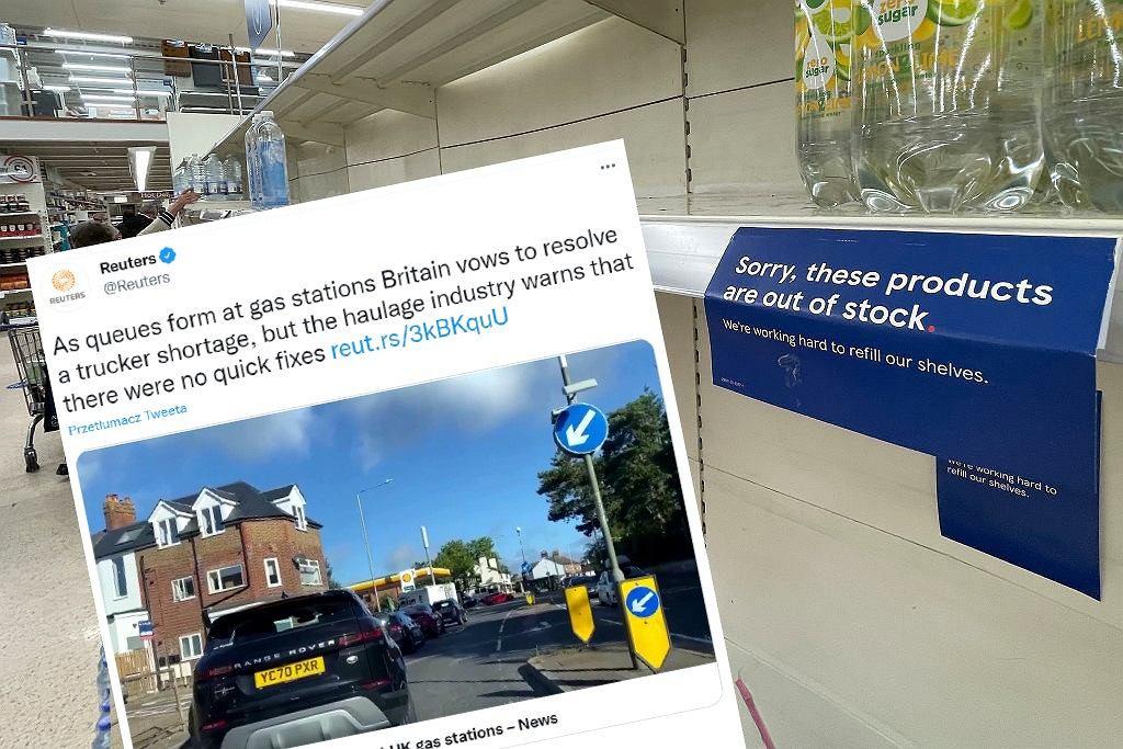 Wielka Brytania. W sklepach pojawiają się niedobory niektórych produktów, a na stacjach paliw kolejki, bo brakuje kierowców ciężarówek.