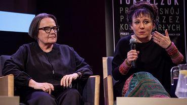 Olga Tokarczuk i Agnieszka Holland w trakcie spotkania wokół filmu 'Pokot '