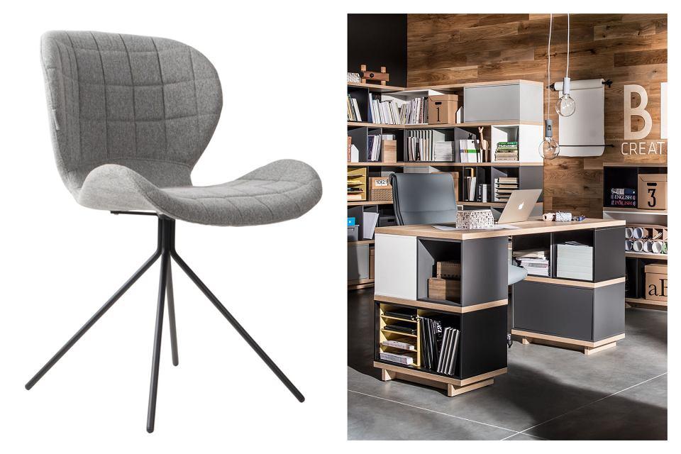 Krzesło OMG, metal i tkanina, 749 zł, nordicdecoration.com. Biurko BALANCE, płyta MDF, dł. 138 cm, 1140 zł, Meble Vox