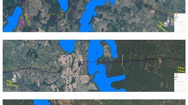 Fragment trasy nowej drogi krajowej S16 przez Mazury, naniesionej na zdjęcia satelitarne w okolicach jezior, które będzie przecinać