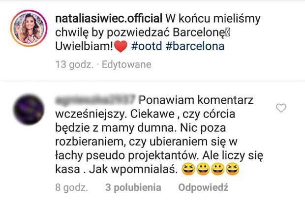 Natalia Siwiec skrytykowana przez internautkę
