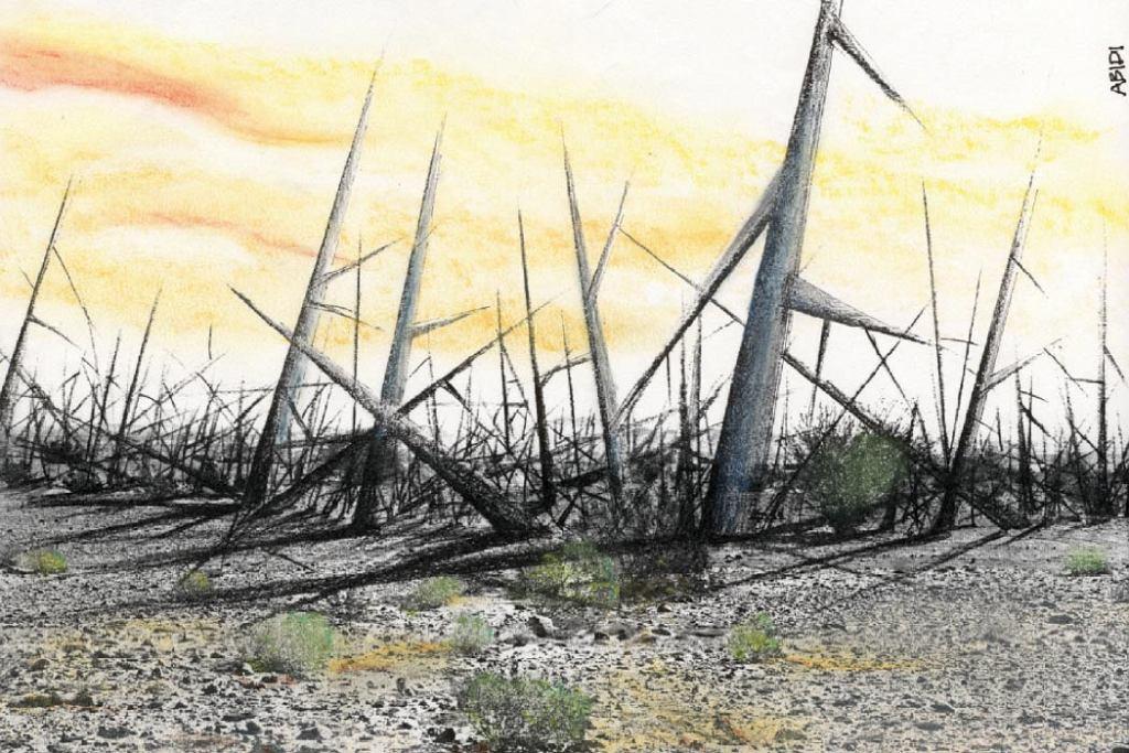 'Cierniowy krajobraz' grafika przedstawiająca koncepcję pierwszego zespołu