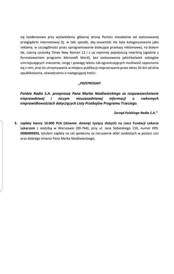 Wezwanie przedprocesowe Marka Niedźwieckiego do władz Polskiego Radia