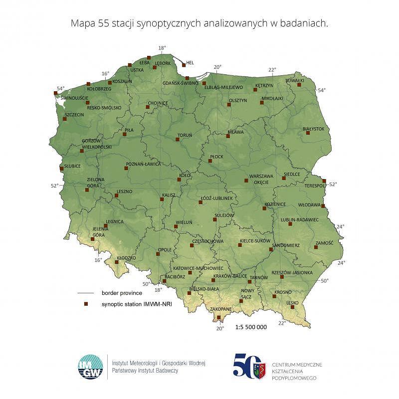 Mapa stacji synoptycznych analizowanych w badaniu