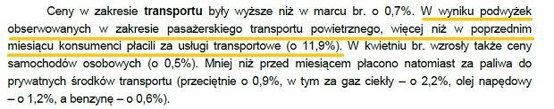 W kwietniu w ujęciu miesięcznym najbardziej zdrożały usługi transportowe