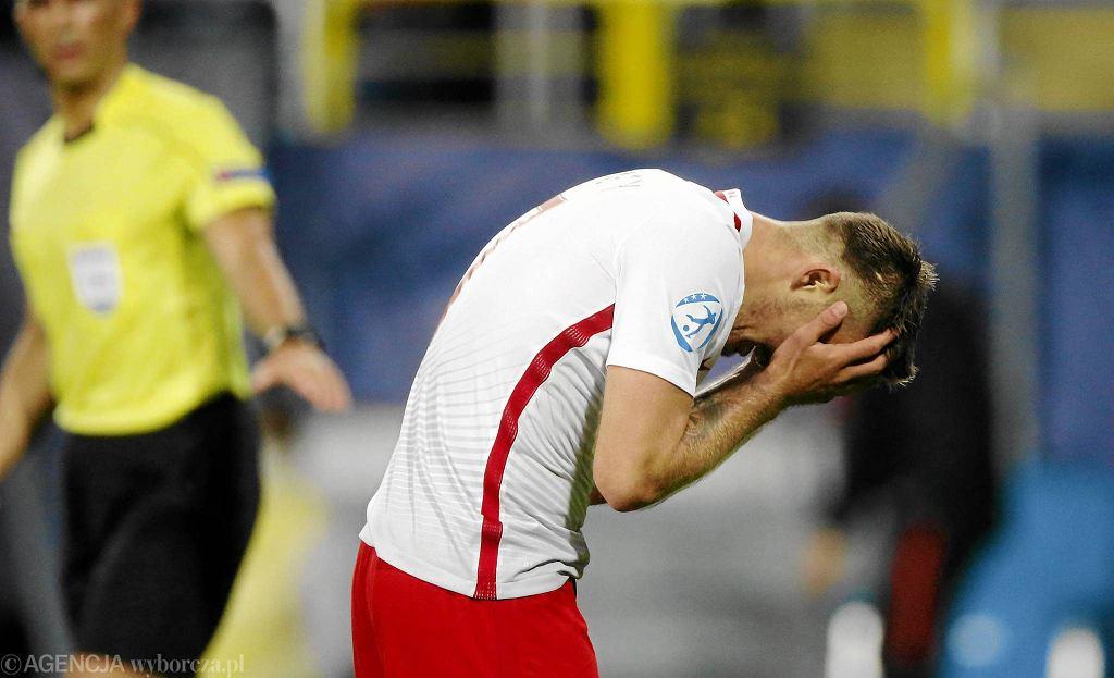 Karol Linetty podczas meczu Mistrzostw Europy U - 21: Polska - Słowacja