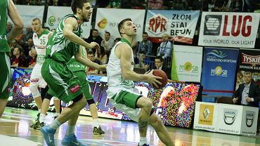 Marcin Sroka w meczu Stelmet Zielona Góra - Śląsk Wrocław
