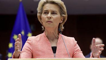 Szefowa Komisji Europejskiej Ursula von der Leyen wygłosiła dziś w Parlamencie Europejskim swe pierwsze 'orędzie o stanie Unii', 16 września 2020.