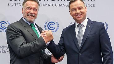 Andrzej Duda podczas drugiego dnia szczytu ONZ w Katowicach spotkał się Arnoldem Schwarzeneggerem