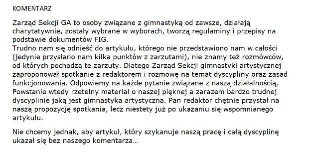 Komentarz Sekcji Gimnastyki Artystycznej PZG