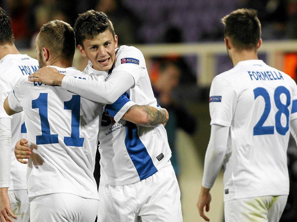 Fiorentina - Lech Poznań 1:2. Radość piłkarzy Lecha