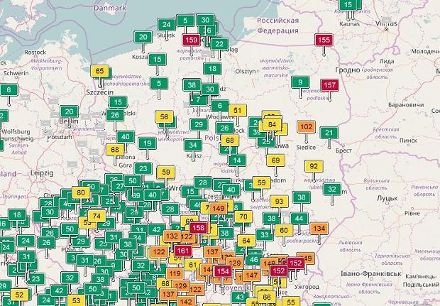 Mapa zanieczyszczenia powietrza