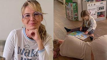 Edyta Pazura szykowała kąpiel dla córki. Pokazała łazienkę. Na ścianach wzorzyste kafelki, ale to wanna gra pierwsze skrzypce